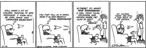 B.D. and Mike Doonesbury meet in a comic published Oct. 26, 1970.