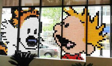 Calvin and Hobbes Post-It Mural Art Andrews McMeel Universal Office