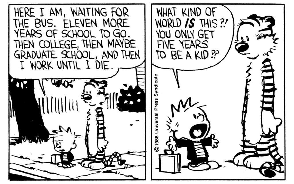 Calvin and Hobbes: Bus Stop Musings